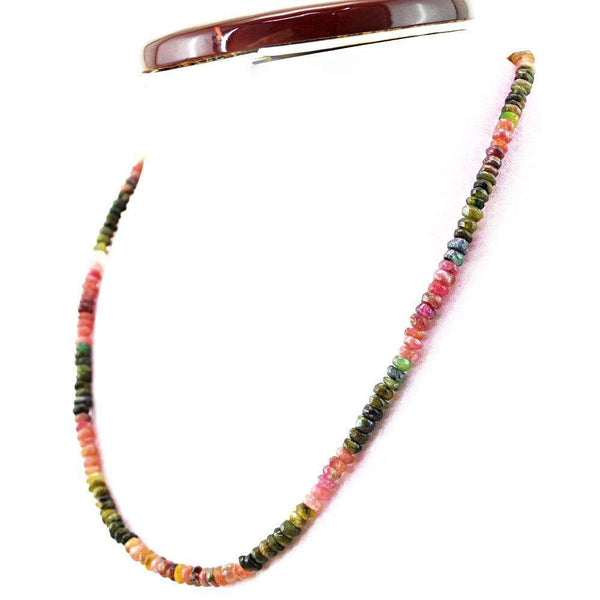 gemsmore:Natural Faceted Watermelon Tourmaline Necklace Round Shape Beads