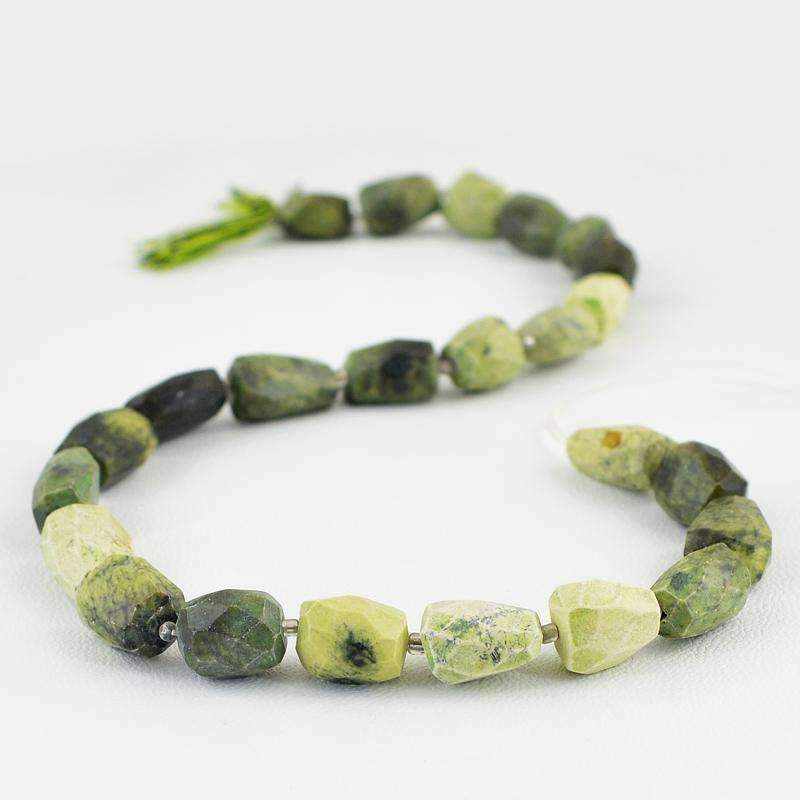 gemsmore:Natural Forest Green Jasper Strand Faceted Drilled Beads