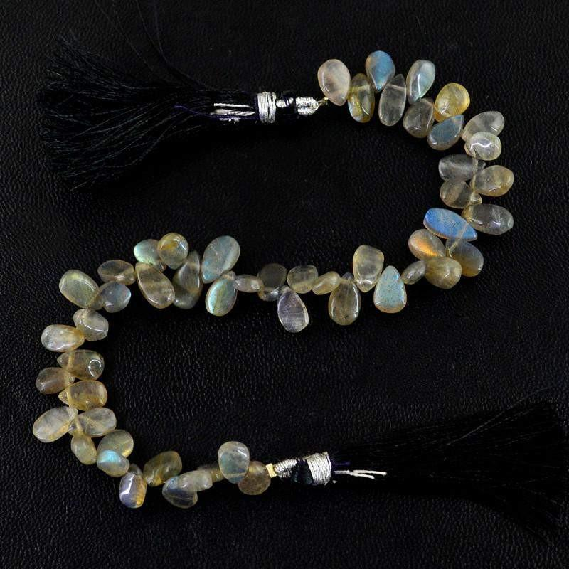 gemsmore:Natural Golden & Blue Flash Labradorite Beads Strand