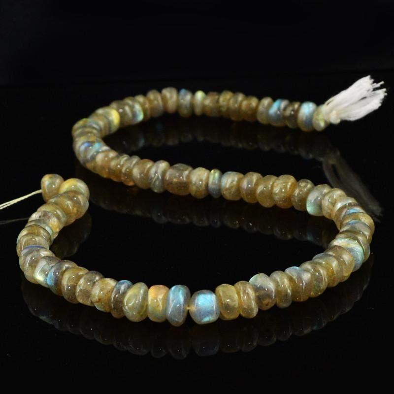gemsmore:Natural Golden & Blue Flash Labradorite Round Beads Strand