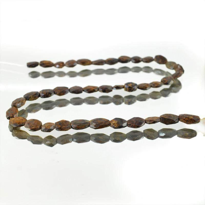 gemsmore:Natural Golden Bronzite Faceted Beads Strand