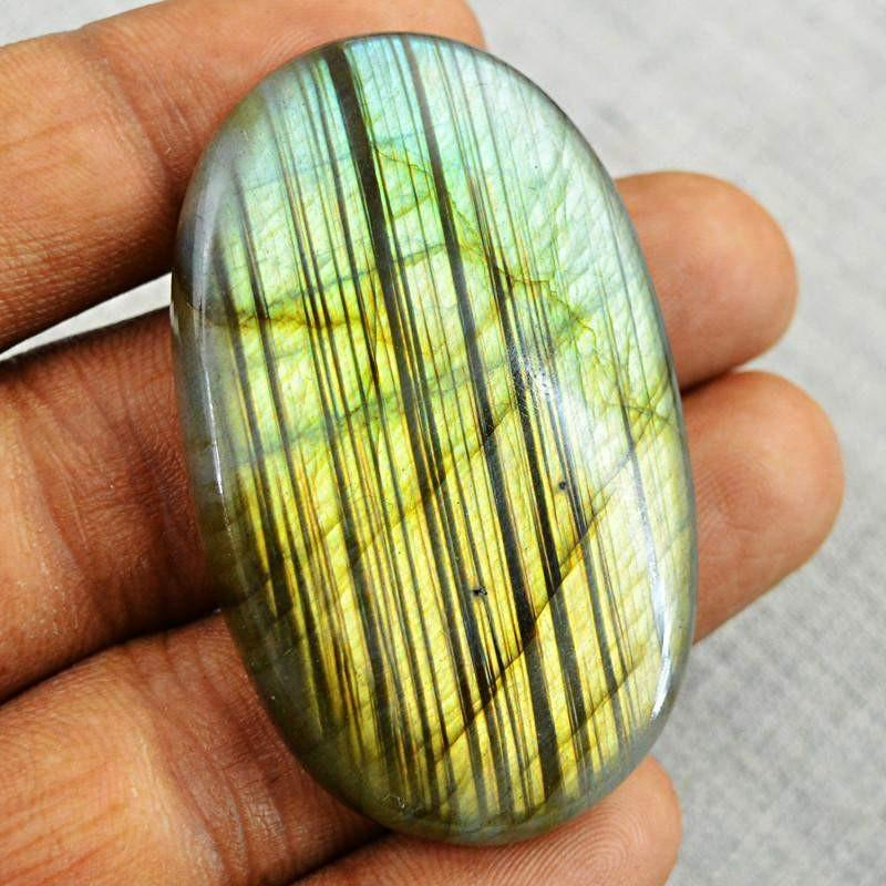 gemsmore:Natural Golden Flash Labradorite Oval Shape Gemstone