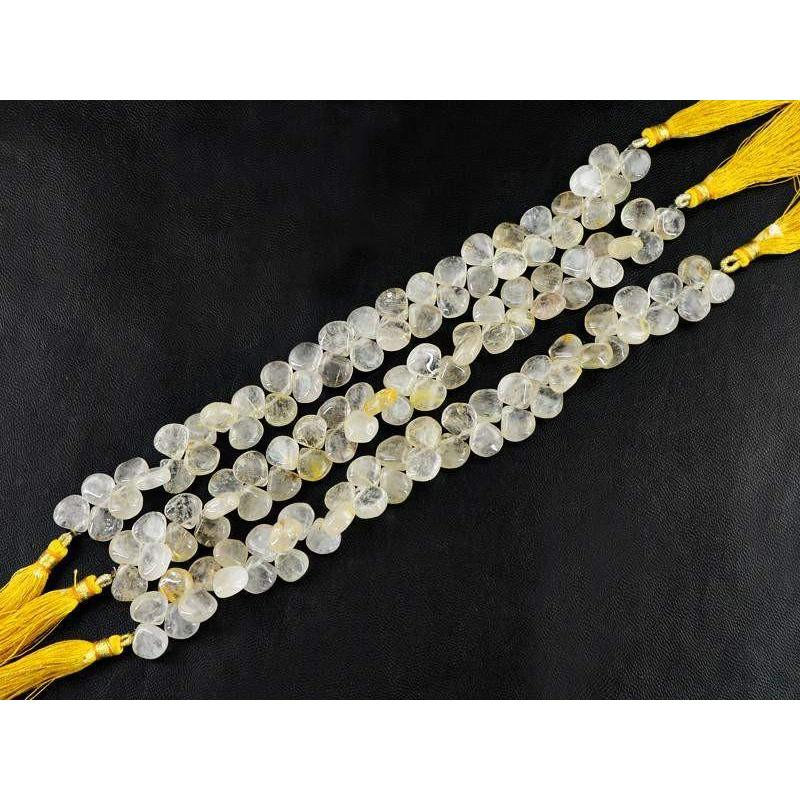gemsmore:Natural Golden Rutile Drilled Beads Strands