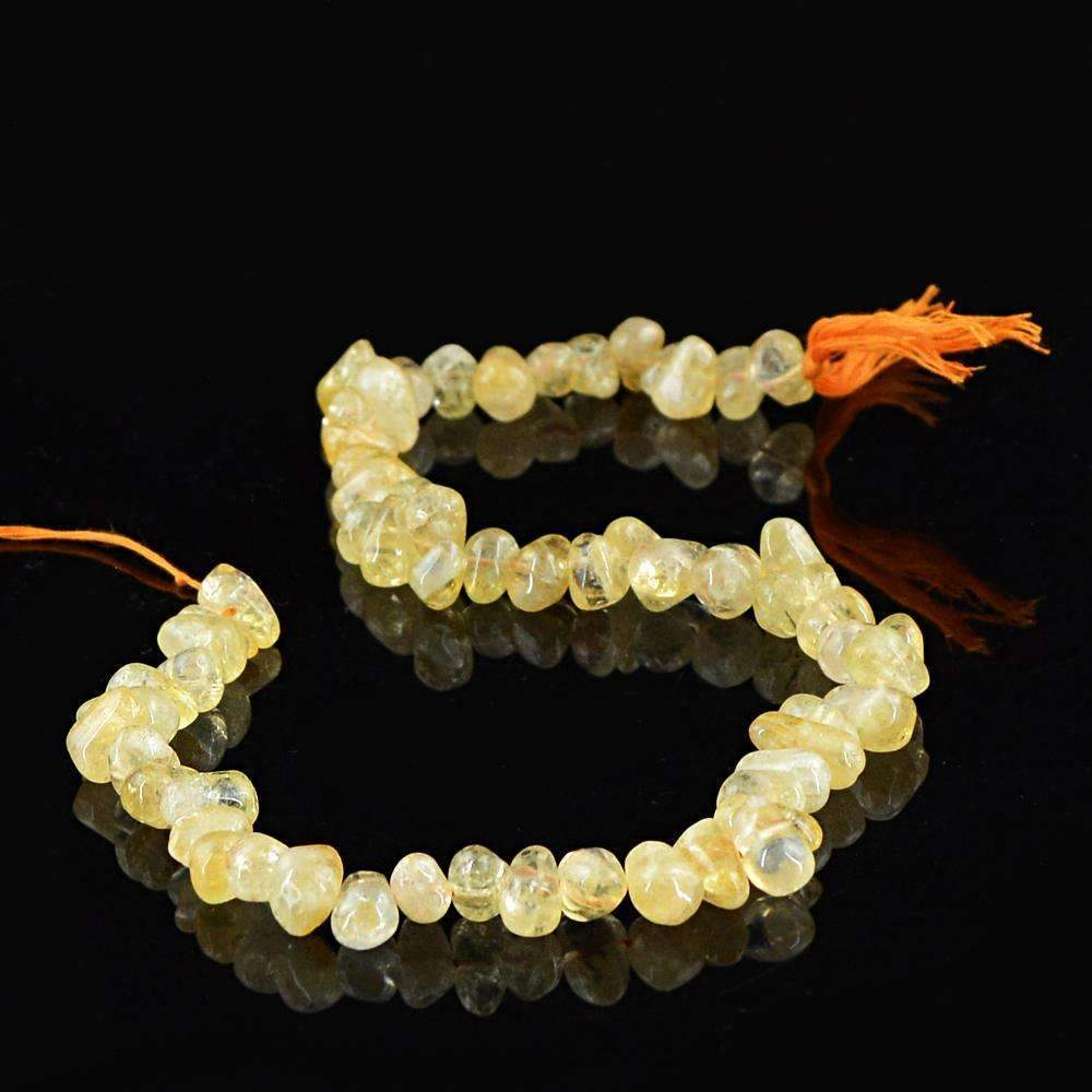 gemsmore:Natural Golden Rutile Quartz Drilled Beads Strand