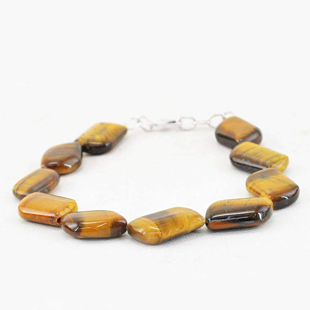 gemsmore:Natural Golden Tiger Eye Bracelet Untreated Beads