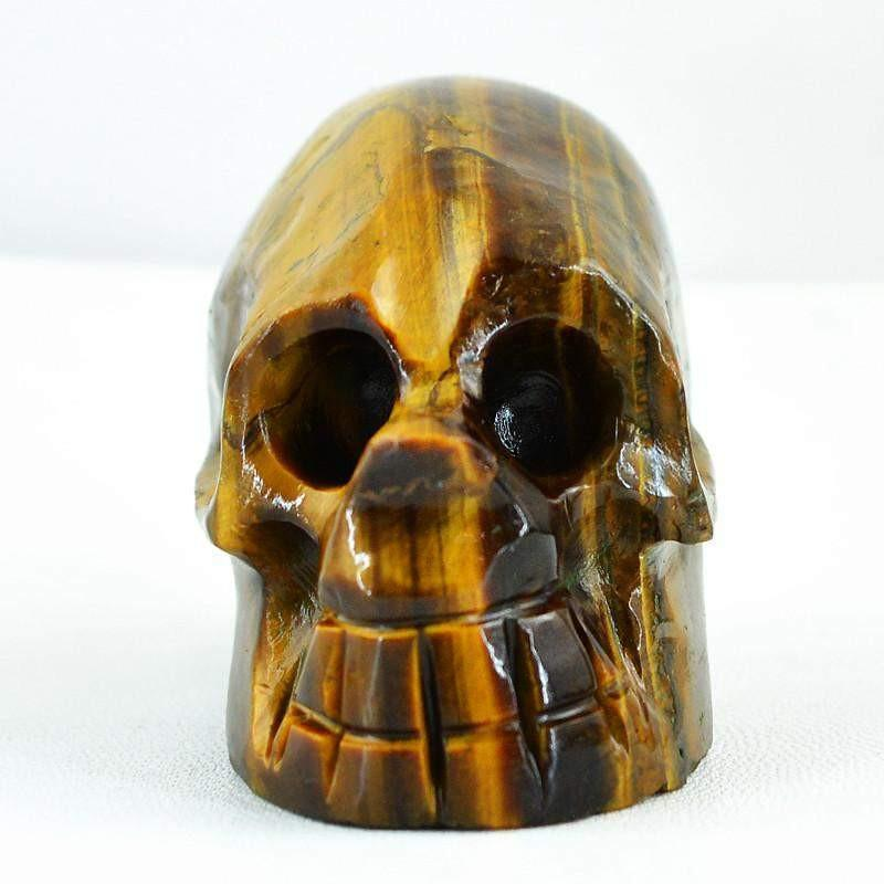 gemsmore:Natural Golden Tiger Eye Gemstone Carved Crystal Skull
