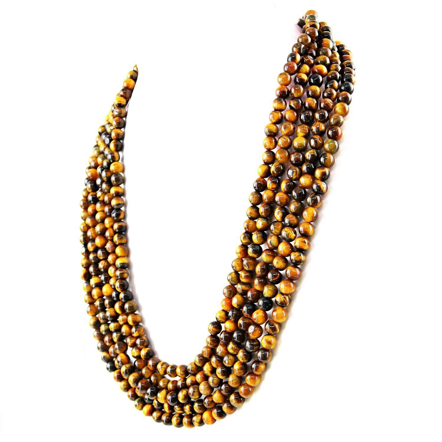 gemsmore:Natural Golden Tiger Eye Necklace Round Beads - 5 Strand
