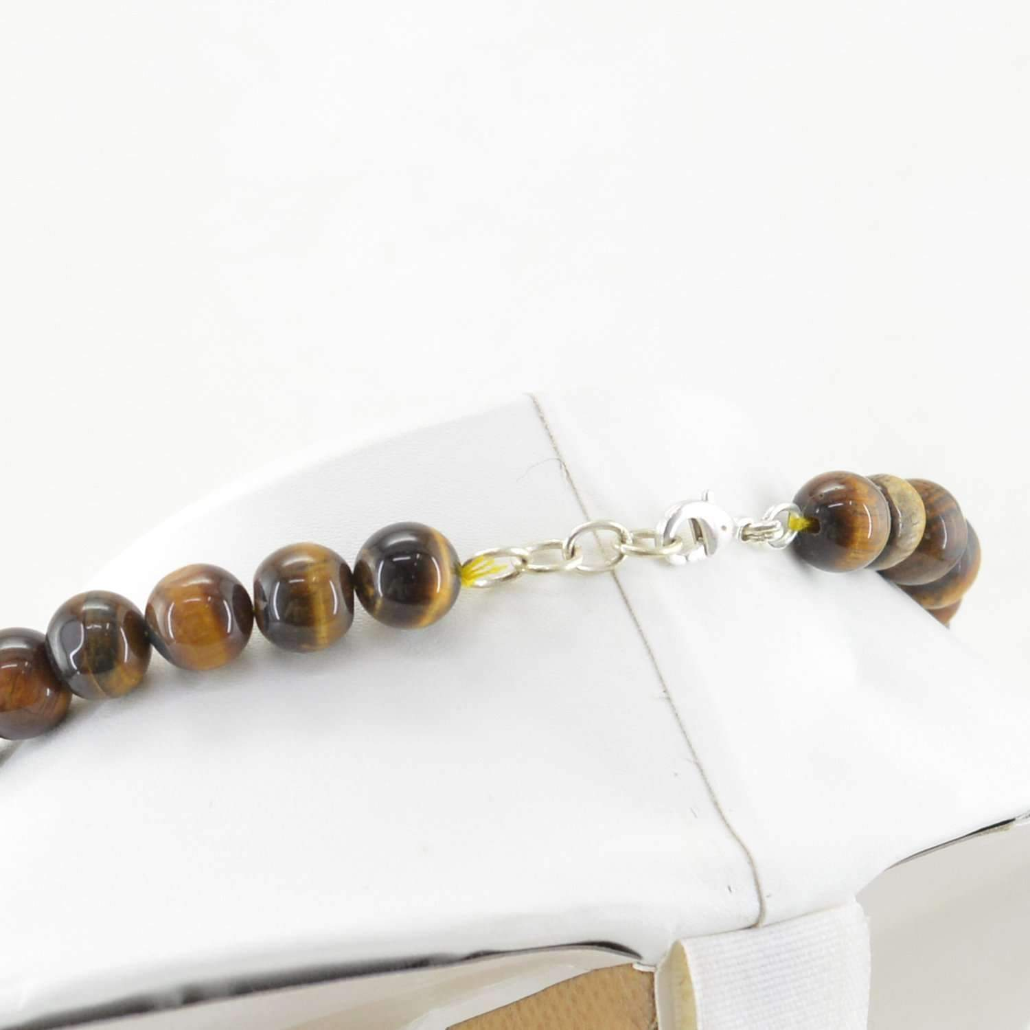 gemsmore:Natural Golden Tiger Eye Necklace Round Beads - Single Strand