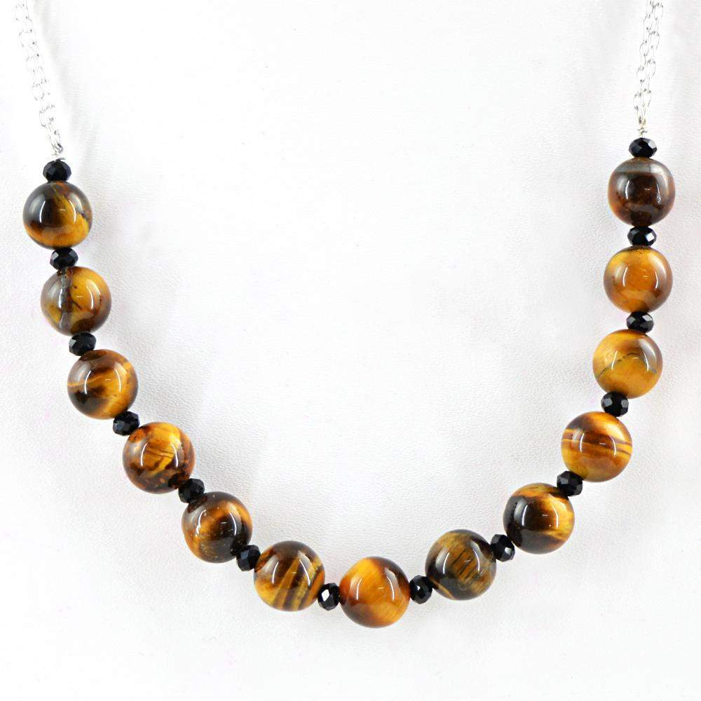 gemsmore:Natural Golden Tiger Eye Necklace Round Shape Beads
