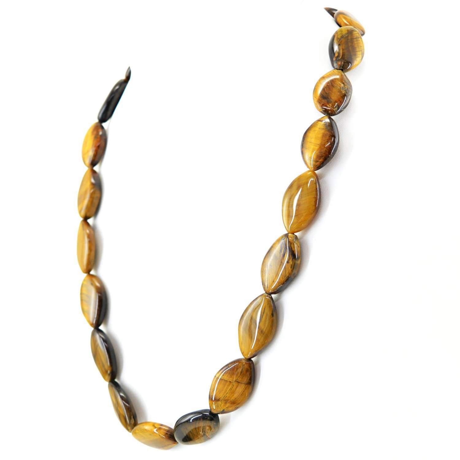 gemsmore:Natural Golden Tiger Eye Necklace Single Strand Untreated Beads