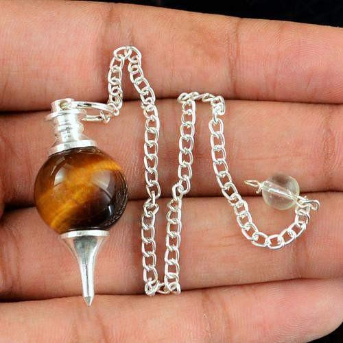 gemsmore:Natural Golden Tiger Eye Pendulum