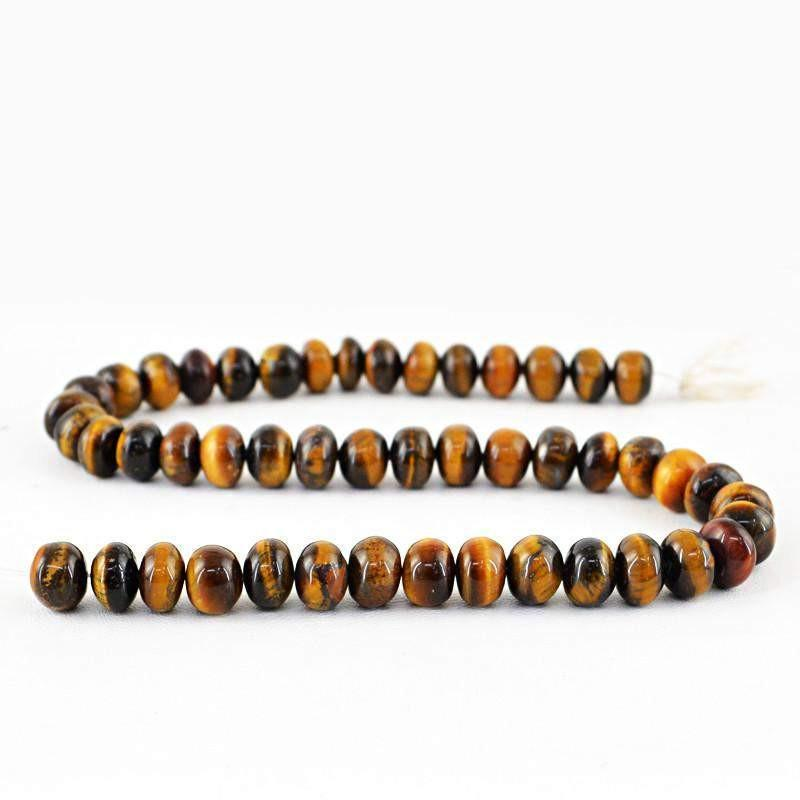 gemsmore:Natural Golden Tiger Eye Round Shape Beads Strand