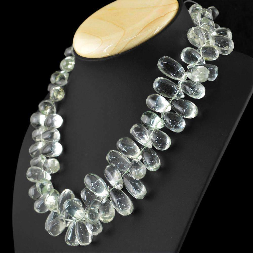 gemsmore:Natural Green Amethyst Necklace 20 Inches Long Pear Shape Beads
