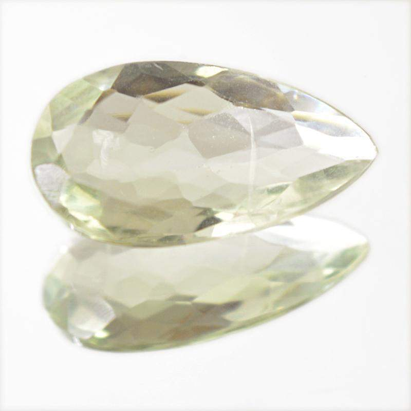 gemsmore:Natural Green Amethyst Pear Shape Checkered Cut Gemstone