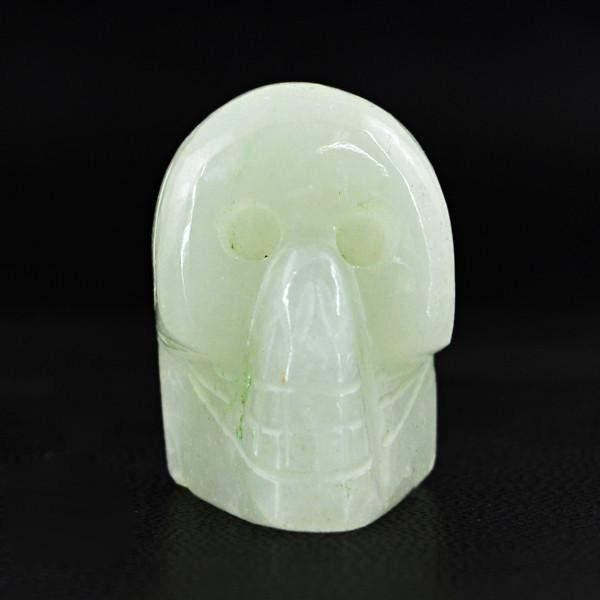 gemsmore:Natural Green Aquamarine Hand Made Carved Skull Gemstone