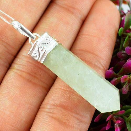 gemsmore:Natural Green Aquamarine Healing Point Pendant