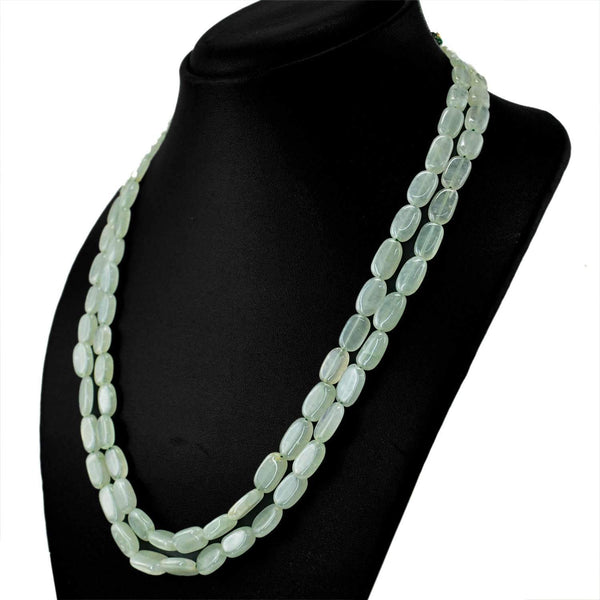 gemsmore:Natural Green Aquamarine Necklace 2 Strand Oval Shape Beads
