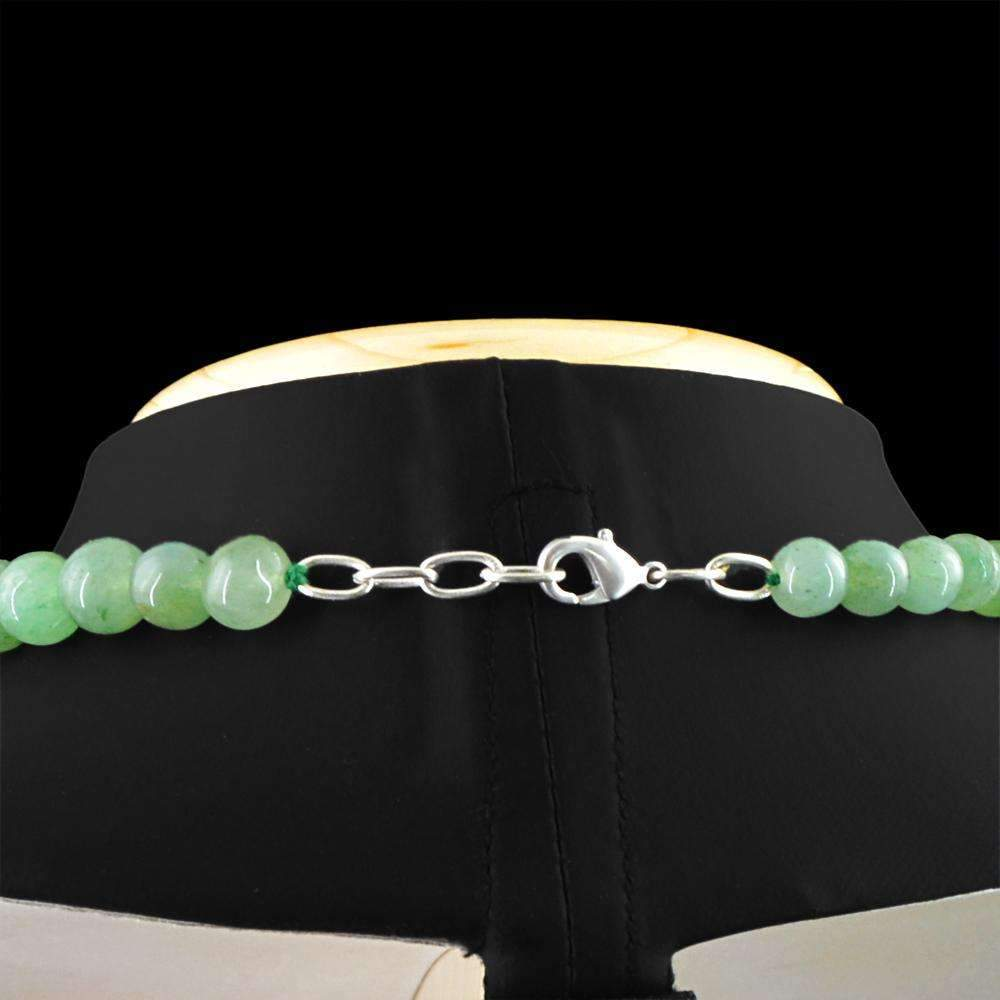 gemsmore:Natural Green Aquamarine Necklace 20 Inches Long Round Shape Beads