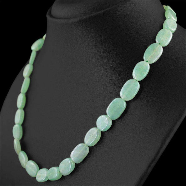 gemsmore:Natural Green Aquamarine Necklace Oval Shape Beads