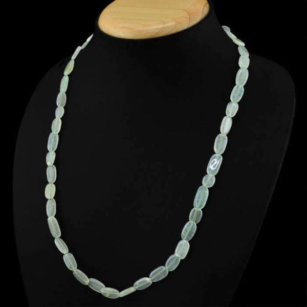 gemsmore:Natural Green Aquamarine Necklace Oval Shape Untreated Beads