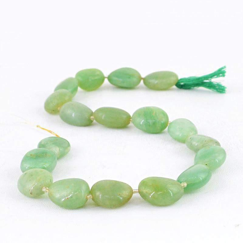 gemsmore:Natural Green Aventurine Untreated Beads Strand