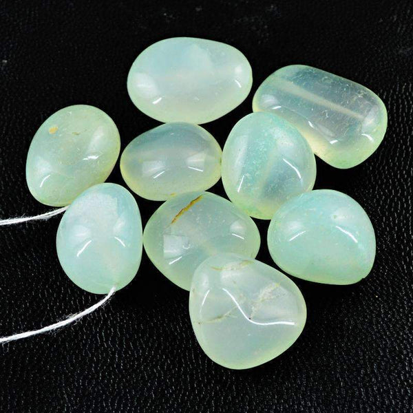 gemsmore:Natural Green Chalcedony Beads Lot Untreated Drilled