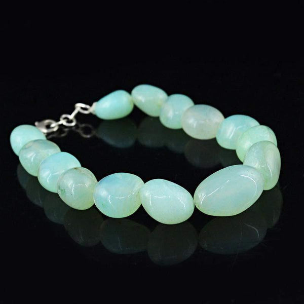 gemsmore:Natural Green Chalcedony Bracelet Genuine Beads