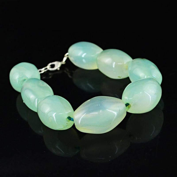 gemsmore:Natural Green Chalcedony Bracelet Oval Shape Beads