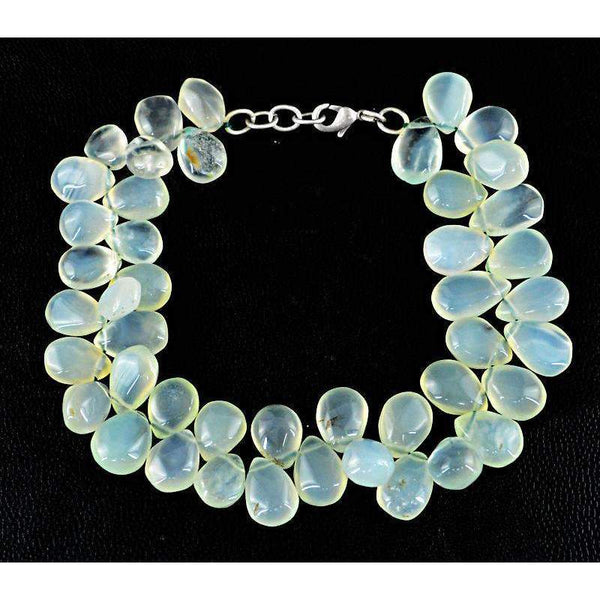 gemsmore:Natural Green Chalcedony Bracelet Pear Shape Beads