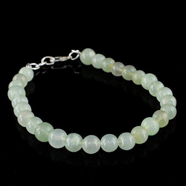 gemsmore:Natural Green Chalcedony Bracelet Round Beads