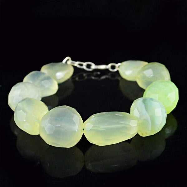 gemsmore:Natural Green Chalcedony Bracelet Untreated Faceted Beads