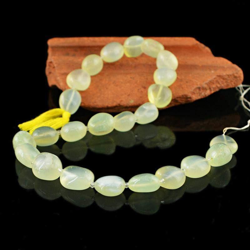 gemsmore:Natural Green Chalcedony Drilled Beads Strand
