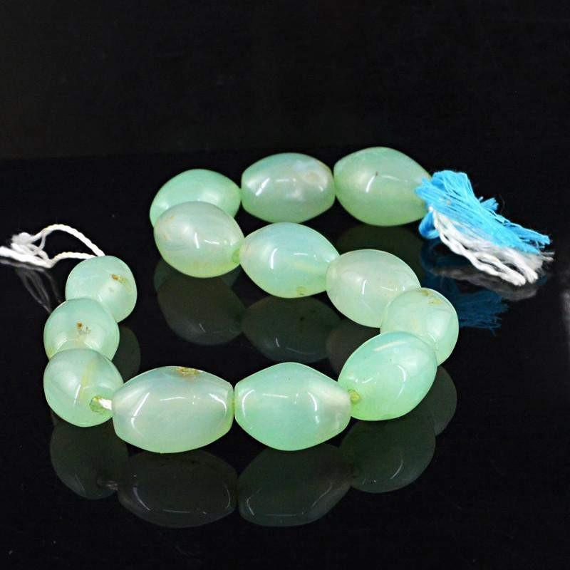 gemsmore:Natural Green Chalcedony Oval Beads Strand