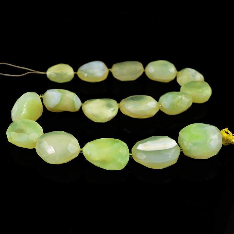 gemsmore:Natural Green Chalcedony Untreated Beads Strand