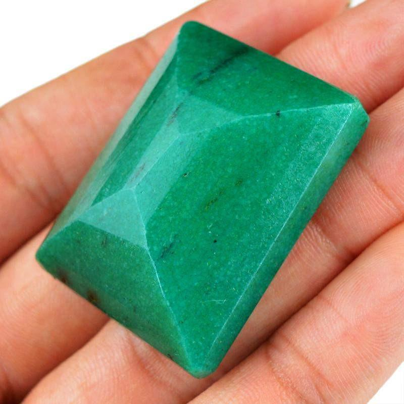 gemsmore:Natural Green Emerald Rectangular Shape Gemstone