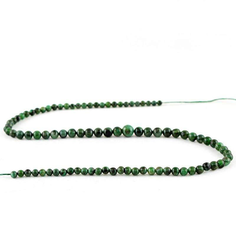 gemsmore:Natural Green Emerald Untreated Round Beads Strand
