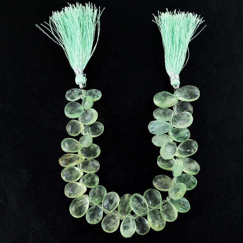 gemsmore:Natural Green Fluorite Pear Shape Beads Strand