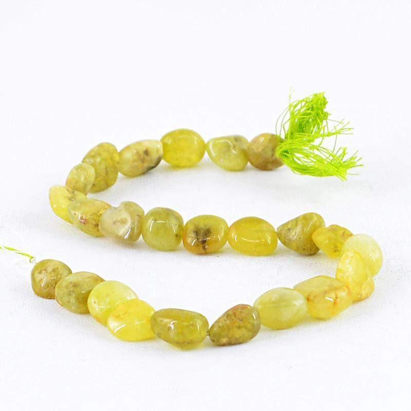 gemsmore:Natural Green Garnet Beads Strand