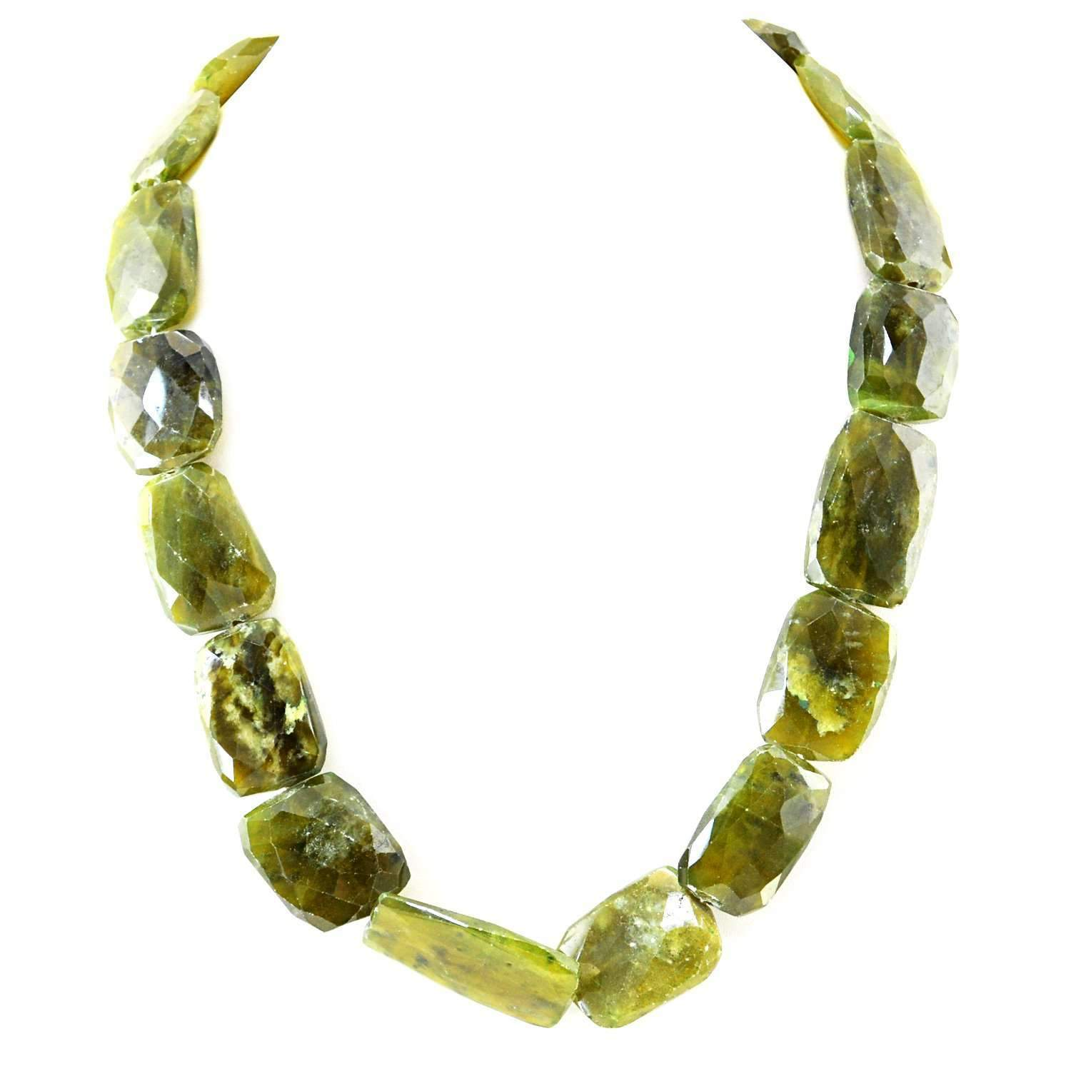 gemsmore:Natural Green Garnet Necklace Untreated Faceted Beads