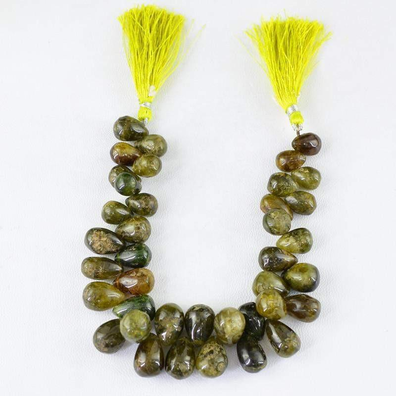 gemsmore:Natural Green Garnet Untreated Drilled Beads Strand
