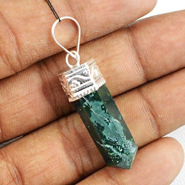 gemsmore:Natural Green Jade Crystal Healing Point Pendant