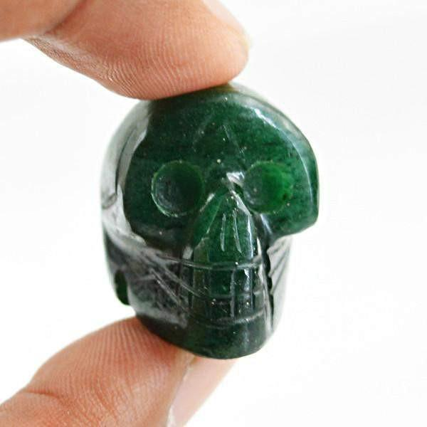 gemsmore:Natural Green Jade Hand Carved Skull Gemstone