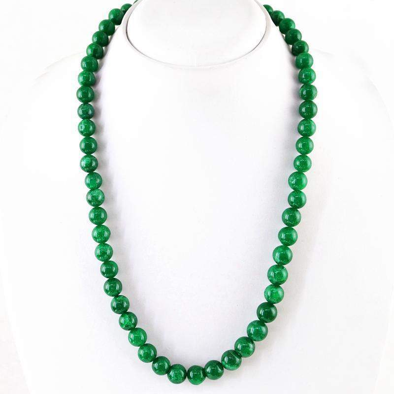 gemsmore:Natural Green Jade Necklace Round Shape Untreated Beads