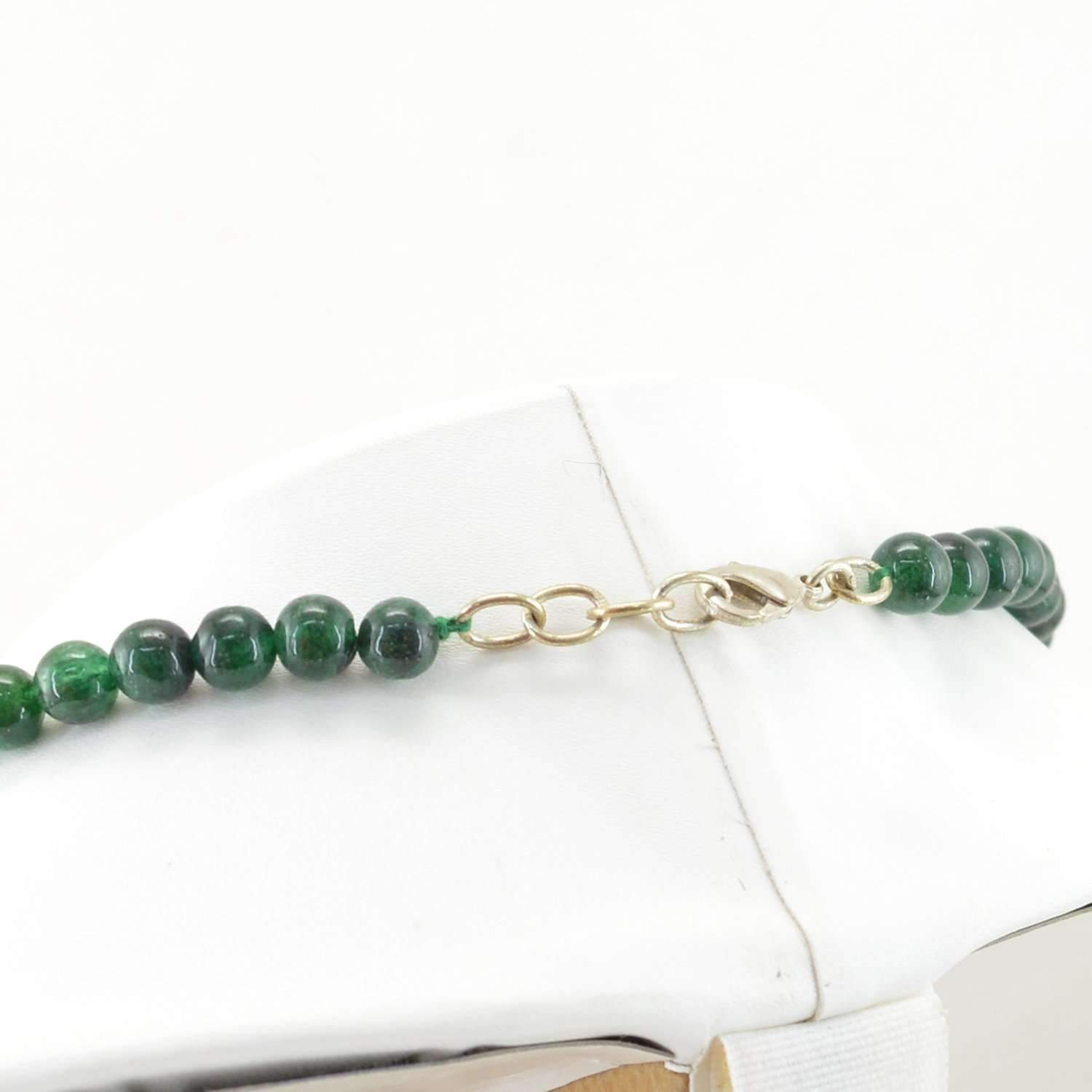gemsmore:Natural Green Jade Necklace Single Strand Round Beads