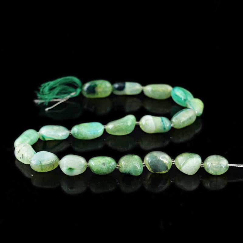 gemsmore:Natural Green Onyx Untreated Beads Strand