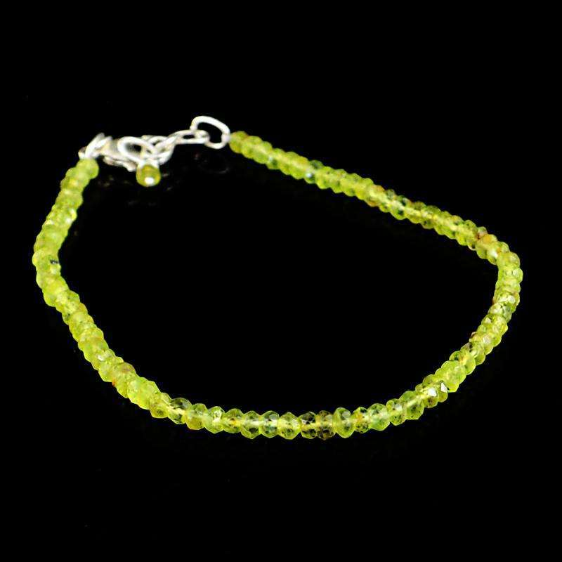 gemsmore:Natural Green Peridot Bracelet Round Shape Faceted Beads