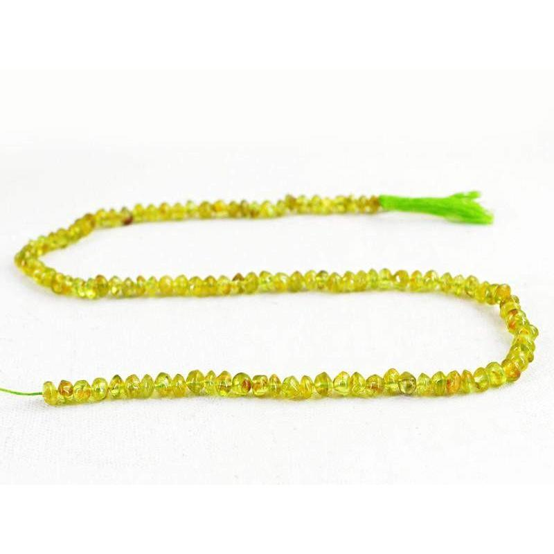 gemsmore:Natural Green Peridot Faceted Drilled Beads Strand