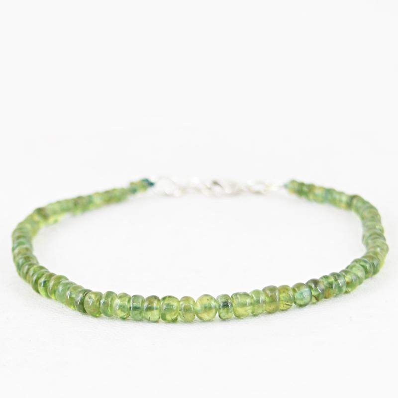 gemsmore:Natural Green Peridot Faceted Round Beads Bracelet