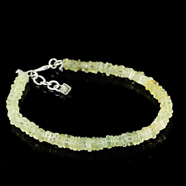 gemsmore:Natural Green Phrenite Bracelet Untreated Beads