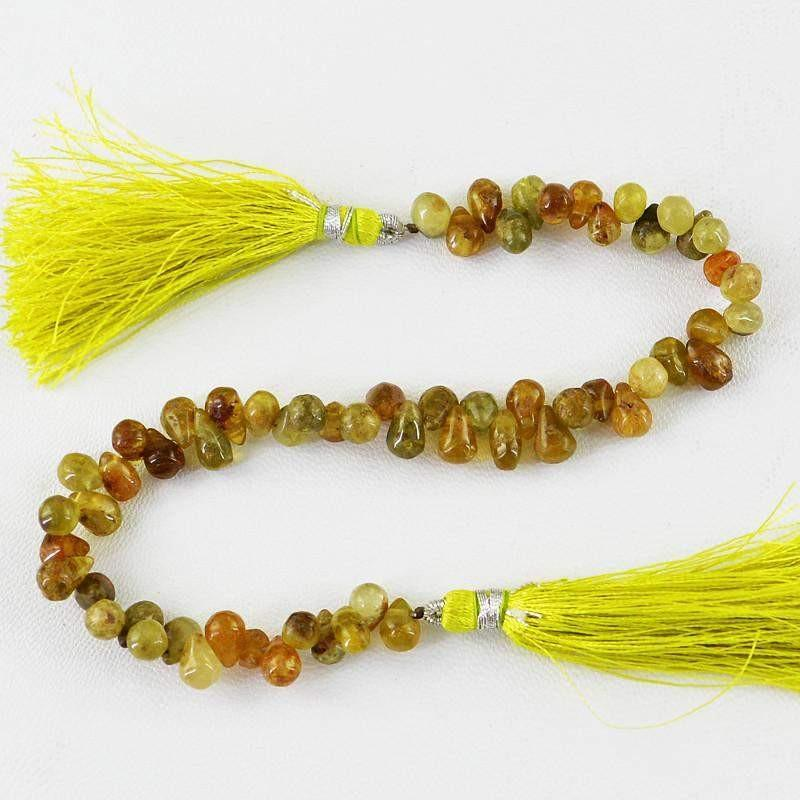 gemsmore:Natural Hessonite Untreated Drilled Beads Strand